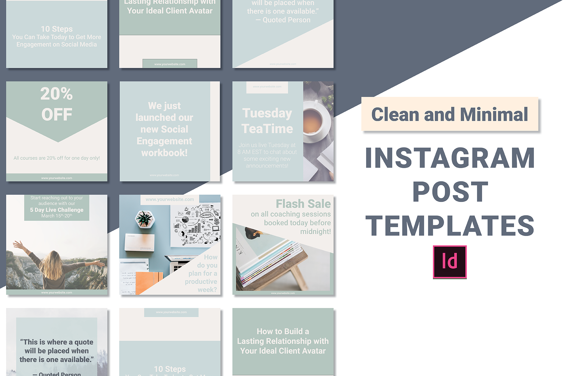 Clean And Minimal Instagram Post Templates Indesign Hunt Family