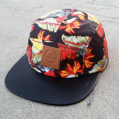 GG LEATHER PATCH FLORAL - 5 PANEL CAMPER - Growing Gardens Clothing