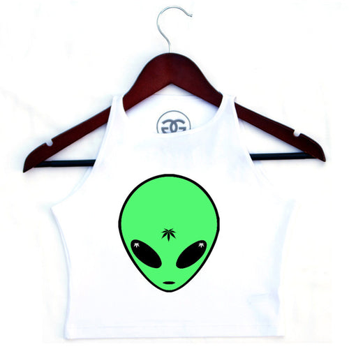 ALIEN GREEN - WHITE - CROPTOP - Growing Gardens Clothing