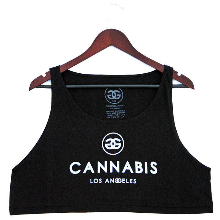 CANNABIS LOS ANGELES - BLACK - LOOSE CROP TANK - Growing Gardens Clothing