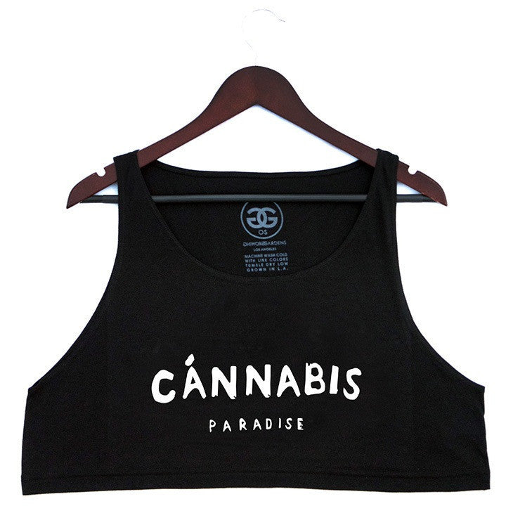 CANNABIS PARADISE - BLACK - LOOSE CROP TANK - Growing Gardens Clothing