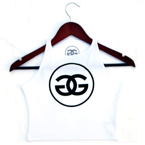 GG LOGO - WHITE - CROPTANK - Growing Gardens Clothing