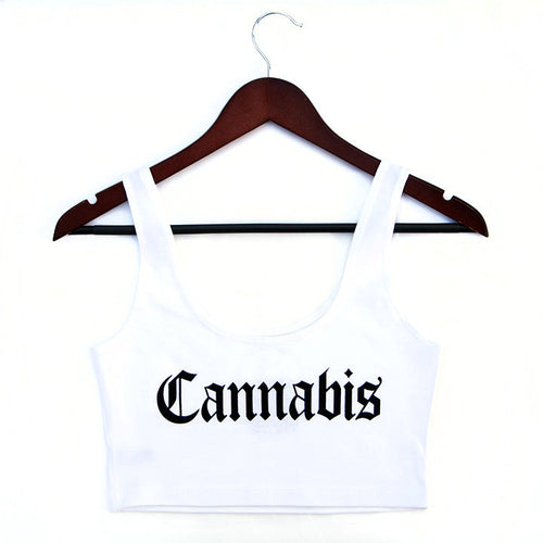 CANNABIS - WHITE - CROPTANK - Growing Gardens Clothing