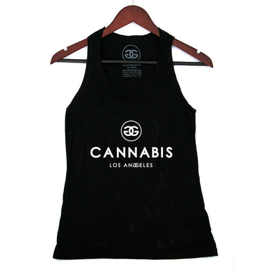 CANNABIS LOS ANGELES - BLACK - RACERBACK TANK - Growing Gardens Clothing