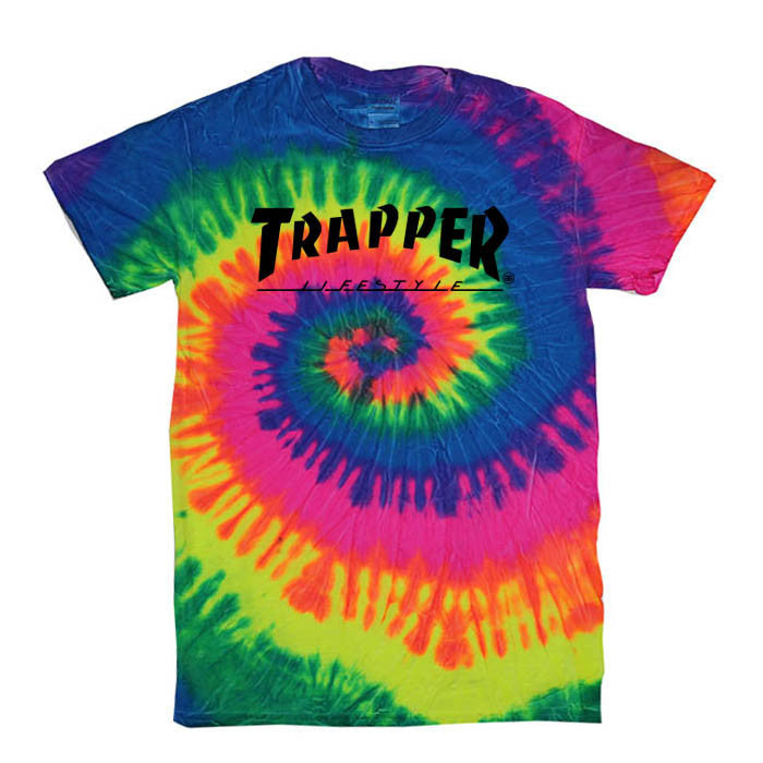 TRAPPER - T-SHIRT - TIE DYE RAINBOW - Growing Gardens Clothing