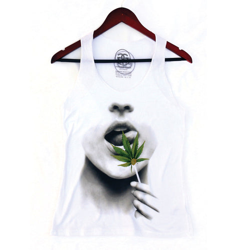 BUDLEAF LOLLIPOP - WHITE - RACERBACK TANK - Growing Gardens Clothing