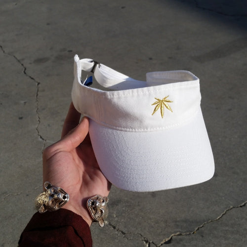 LEAF CLASSIC - VISOR - WHITE - Growing Gardens Clothing - 1
