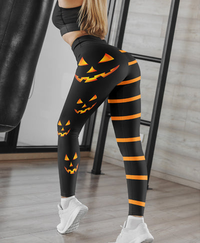 Pumpkin-Stripe Leggings