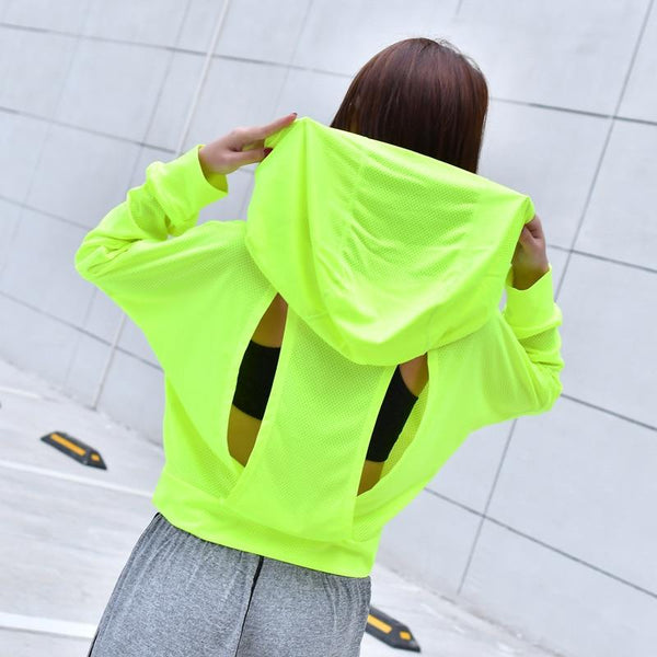 Vibrant Mesh Hooded Yoga top