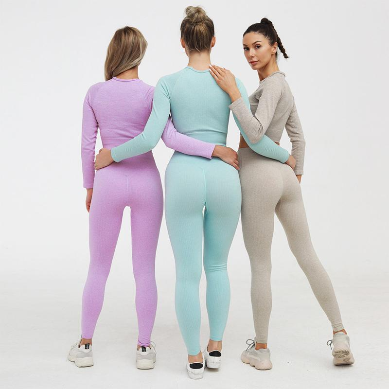Rib-Knit Seamless Leggings