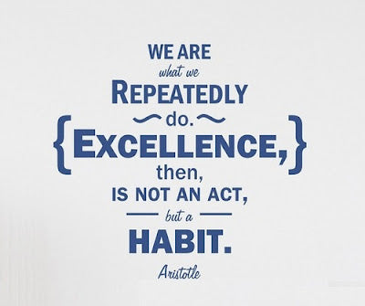 We are what we repeatedly do. Excellence, then, not an act, but a habit. -Aristotle