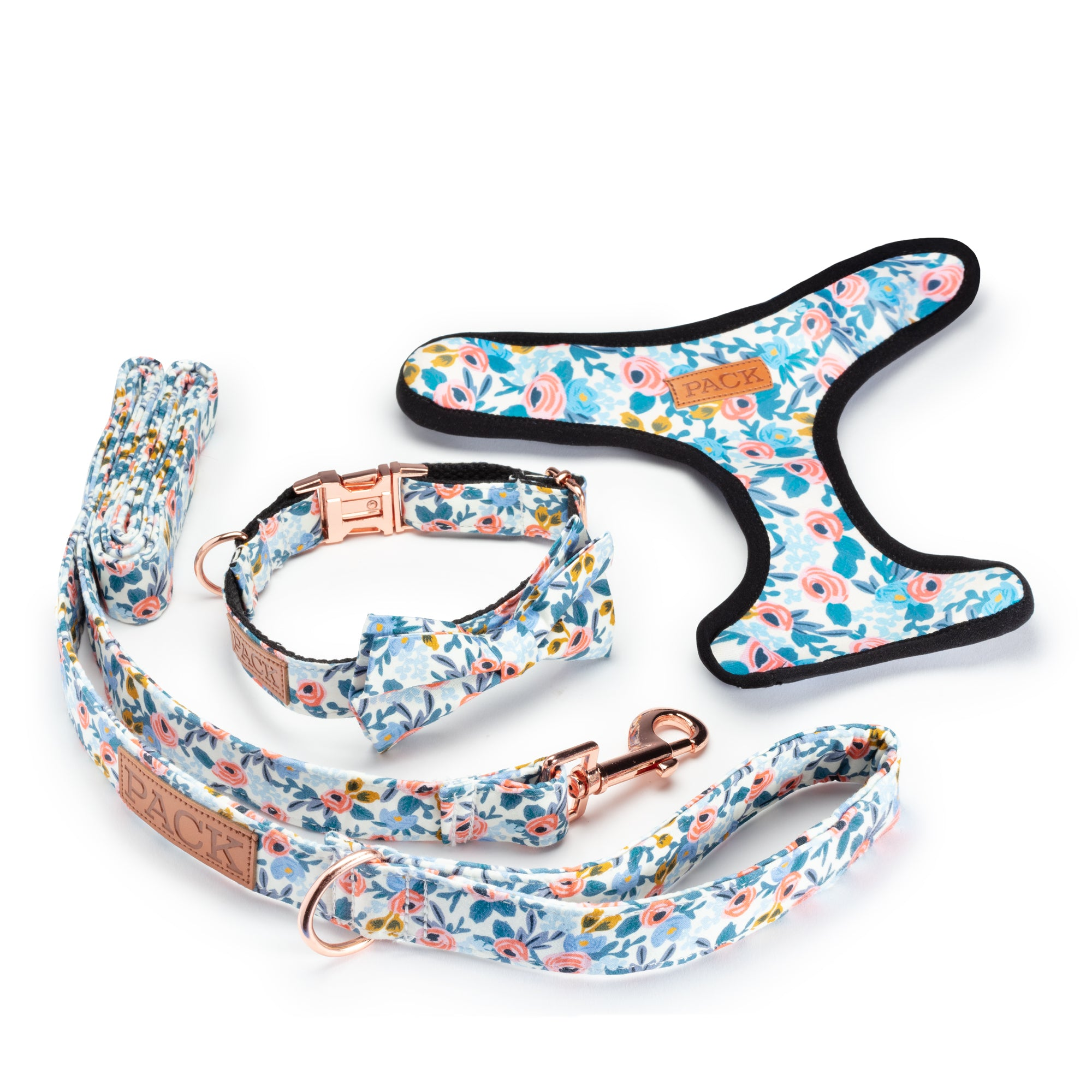 Rosé Leash + Bowtie Collar + Reversible Harness