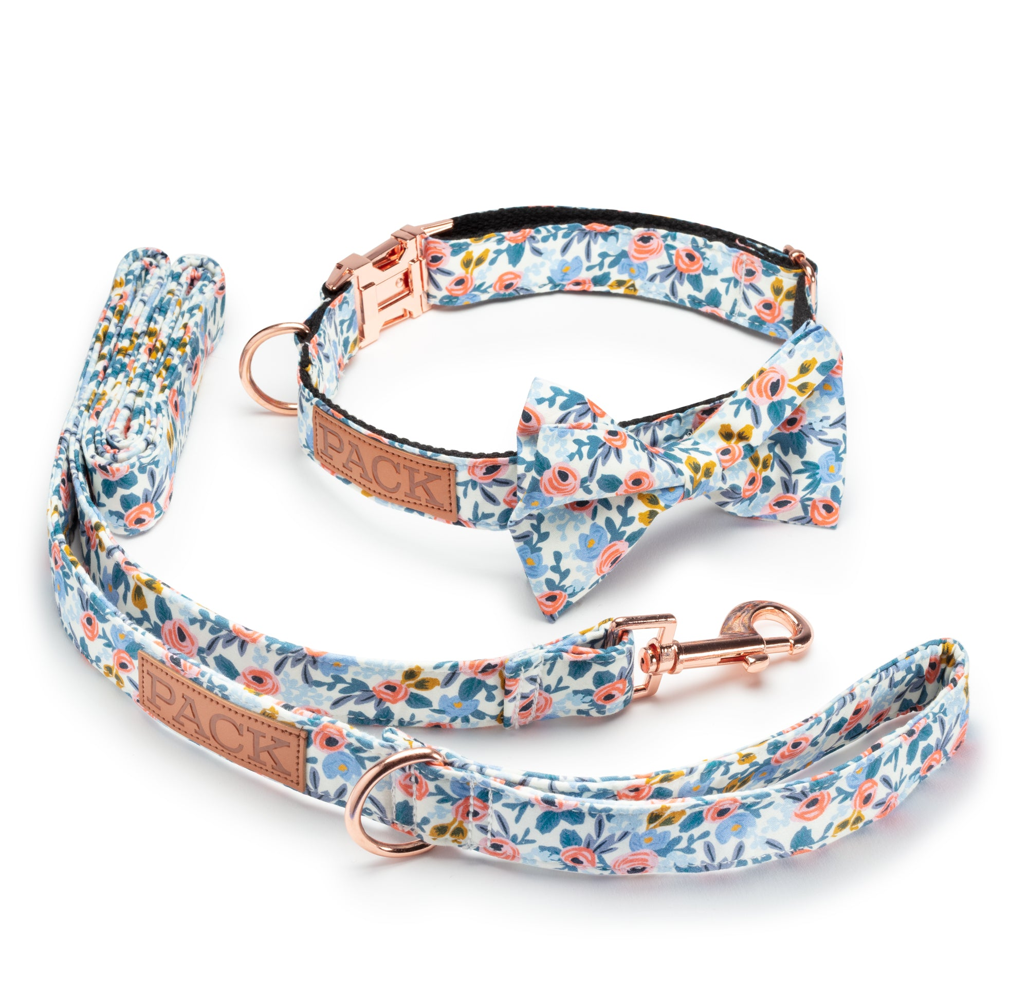 Rosé Leash + Bowtie Collar