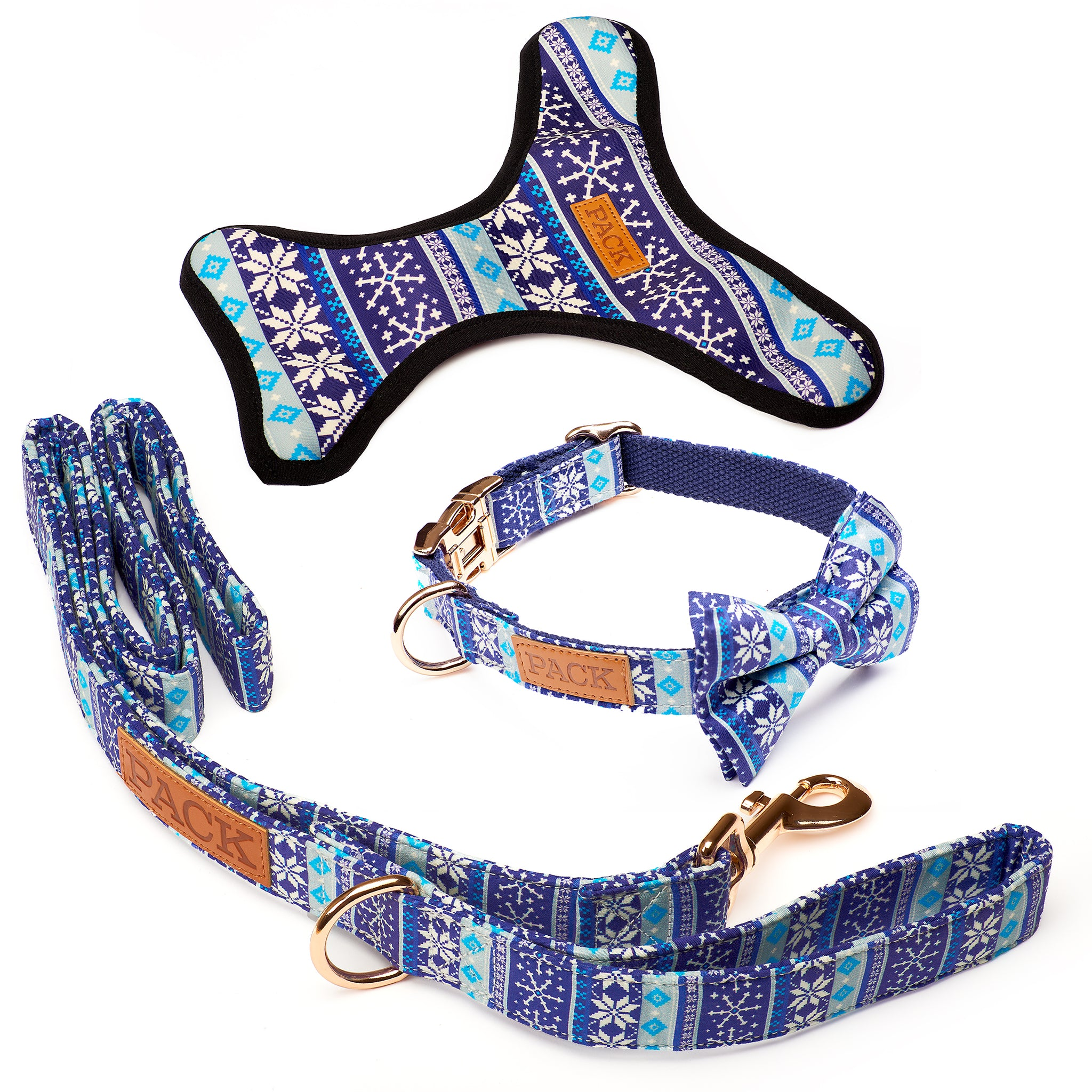 The Sweater Leash + Bowtie Collar + Reversible Harness