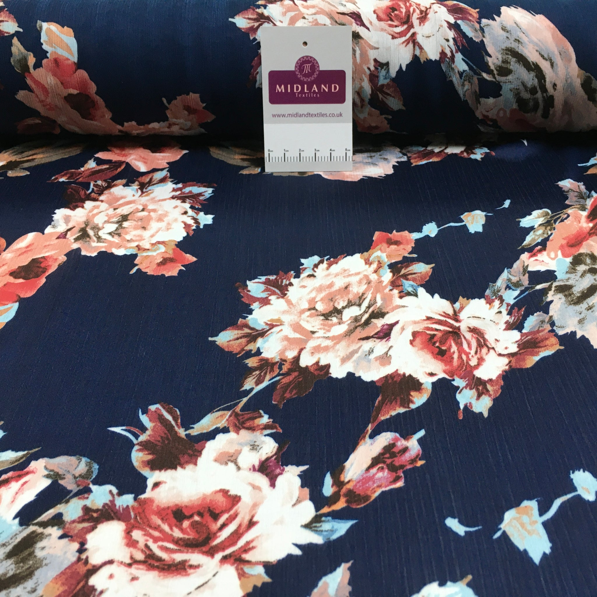 Floral Roses Crinkle Satin Chiffon Dress Fabric M1492 Mtex
