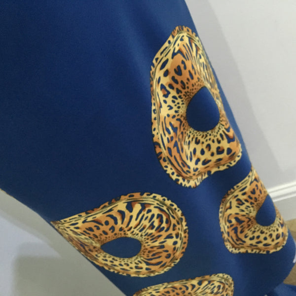 "Royal Blue Satin Crepe animal Border print fabric 45"" wide M657 Mtex - Midland Textiles & Fabric"