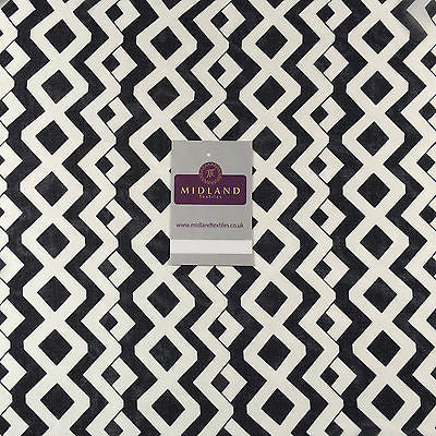 "Cream and Navy Diamond Striped Georgette Chiffon Printed Fabric 58"" M401-37 Mtex - Midland Textiles & Fabric"