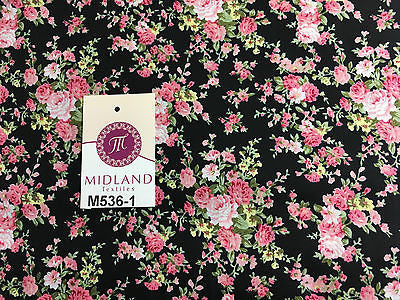 "Vintage Floral Shabby Chic Rose Printed 100% Cotton Poplin Fabric 58"" Wide M536 - Midland Textiles & Fabric"