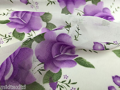 "White with lavender rose floral Print chiffon fabric 44""wide  M161-7 Mtex - Midland Textiles & Fabric"
