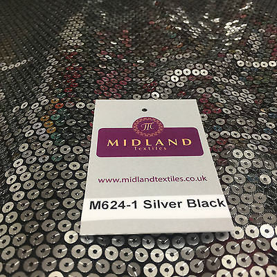 "Silver Sew on sequins 5mm on black mesh net dress fabric 55"" wide M624 Mtex - Midland Textiles & Fabric"