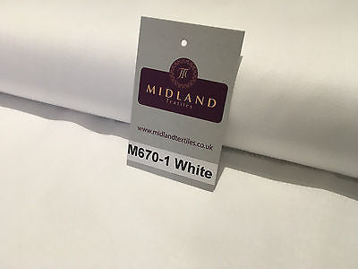 "Plain White 100% Cotton ideal for clothing, draping, Craft 60"" Wide M670-1 - Midland Textiles & Fabric"