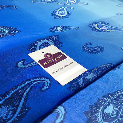 "Blue paisley lightweight chiffon dress fabric, scarf 58"" M145-59 Mtex - Midland Textiles & Fabric"