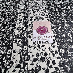 "Black and white floral Vertical Striped Chiffon Fabric 44"" wide M161-25 Mtex - Midland Textiles & Fabric"