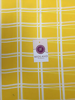 "Sun Yellow and Off white window pane check crepe chiffon fabric 58"" M401-5 Mtex - Midland Textiles & Fabric"