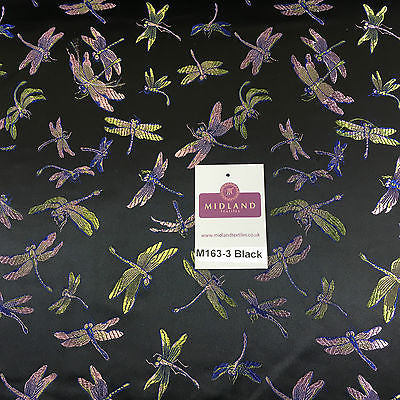 """CHINESE ORIENTAL GOLD DRAGONFLY BROCADE SILKY SATIN DRESS FABRIC 44/"""" M163"""