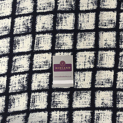 "Navy and Cream Window Pane Dull Crepe Dress Fabric 58"" M401-45 Mtex - Midland Textiles & Fabric"
