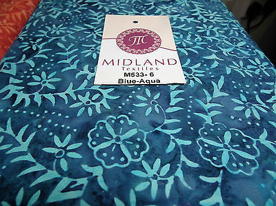 "Fabric Freedom Floral Bali Batik Print Fabric 100% Cotton 40"" Wide M533 Mtex - Midland Textiles & Fabric"