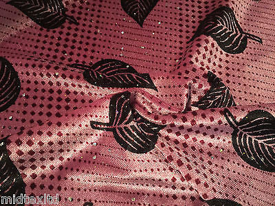 "Leaf Print Spandex Velvet Sequinned - 2 way stretch Fabric-58"" M16-16 Mtex - Midland Textiles & Fabric"