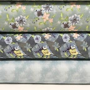 "Blue Watercolour Floral 100% Cotton Craft & Patchwork fabric 44"" Wide M562 Mtex - Midland Textiles & Fabric"