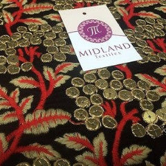 "Micro Velvet Antique Gold Sequins With Anchor Lame Gold Embroidery 36"" M46 Mtex - Midland Textiles & Fabric"