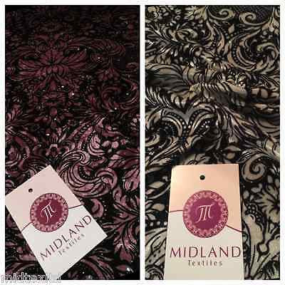 "Ornamental Print two way Stretch Glitter Velor Velvet 58"" M16-10 and M16-11 Mtex - Midland Textiles & Fabric"