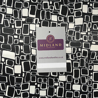 "White and Grey Mango Satin High Street Printed Dress Fabric 58"" M401-39 Mtex"