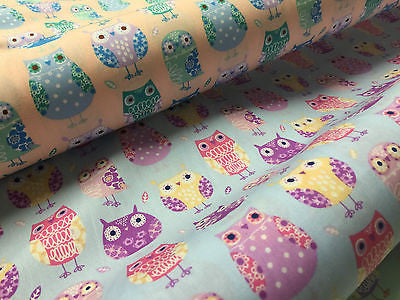 "Retro Novelty Quirky Owl Printed 100% cotton Poplin Fabric 44"" Wide  M529 Mtex - Midland Textiles & Fabric"