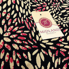 "Black and pink floral flower print viscose fabric 58"" M125-2 Mtex - Midland Textiles & Fabric"