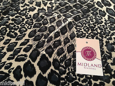"Cream and grey animal print Spandex Velvet Two Way Stretch 58"" M16-13 Mtex - Midland Textiles & Fabric"