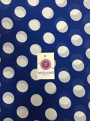 "Cobalt and white large dot crepe chiffon high street printed fabric 58"" M401-4 - Midland Textiles & Fabric"