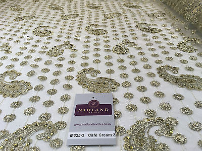 "Metallic Embroided and Stone work lace mesh Dress Net Fabric 46"" Wide M625 - Midland Textiles & Fabric"