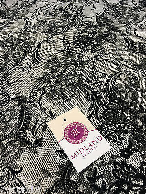 "Black flock lace effect off white Jersey fabric 2 way stretch 58""  M16-21 Mtex - Midland Textiles & Fabric"