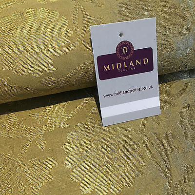 "Indian Floral gold metallic banarsi faux silk Brocade fabric 44"" M710 Mtex - Midland Textiles & Fabric"