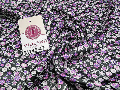 "Floral Ditsy Printed Silky Smooth Satin Dress Fabric 58"" Wide M145-46-47-48 - Midland Textiles & Fabric"