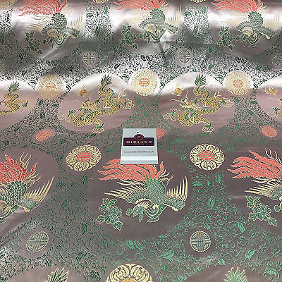 "Rose Pink Chinese Dragon oriental Silky satin brocade Dress Fabric 45"" M395-13 - Midland Textiles & Fabric"