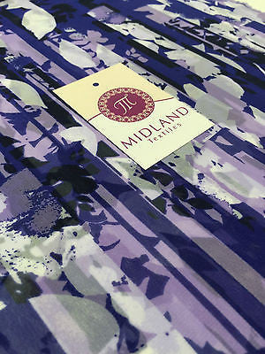 "Purple and White striped light chiffon high street printed fabric 58"" M401-7 - Midland Textiles & Fabric"