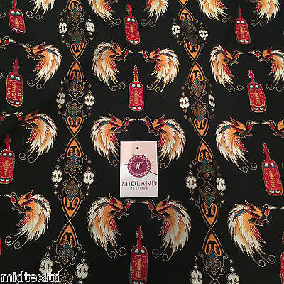"Egyptian Bird print on black silky satin with gold foil 44"" Wide M145-30 Mtex - Midland Textiles & Fabric"
