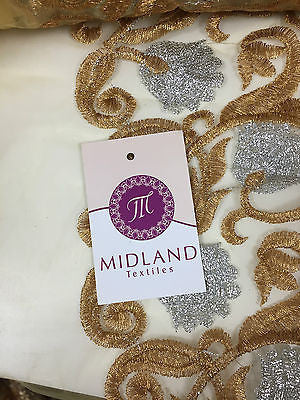 "Silver and Gold Floral Ornamental Thread Embroided net fabric 34"" Wide M233 Mtex - Midland Textiles & Fabric"