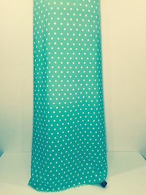 "Aqua green polka dot peachskin crepe dress fabric 58"" M252 Mtex - Midland Textiles & Fabric"
