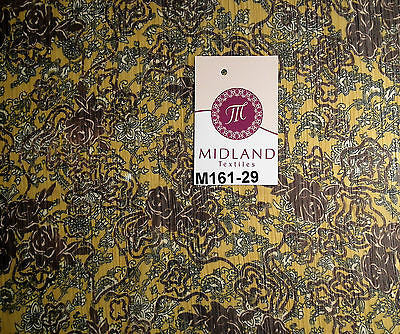 "Mustard floral printed crinkle chiffon chiffon Fabric 44"" wide M161-29 Mtex - Midland Textiles & Fabric"